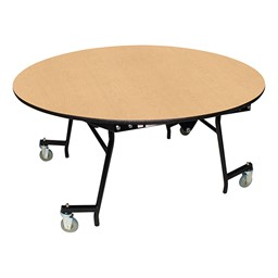 "Easy-Fold Mobile Round Nesting Cafeteria Table w/ MDF Core, Powder Coat Frame & Protect Edge (60"" Diameter) - Fusion Maple"