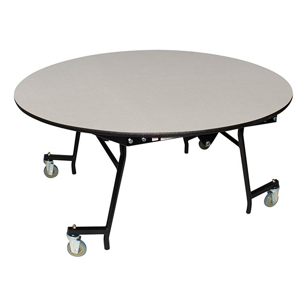 "Easy-Fold Mobile Round Nesting Cafeteria Table w/ MDF Core, Powder Coat Frame & Protect Edge (60"" Diameter) - Gray"