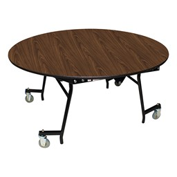 "Easy-Fold Mobile Round Nesting Cafeteria Table w/ MDF Core, Powder Coat Frame & Protect Edge (60"" Diameter) - Walnut"