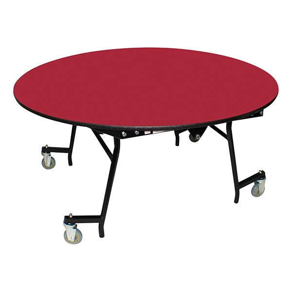 "Easy-Fold Mobile Round Nesting Cafeteria Table w/ MDF Core, Powder Coat Frame & Protect Edge (60"" Diameter) - Red"