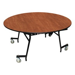 "Easy-Fold Mobile Round Nesting Cafeteria Table w/ MDF Core, Powder Coat Frame & Protect Edge (60"" Diameter) - Cherry"
