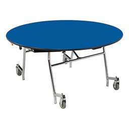 Easy-Fold Mobile Round Cafeteria Table - Blue