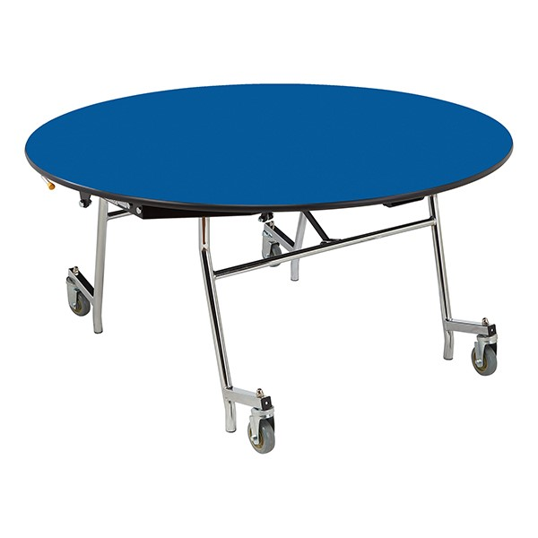 """Easy-Fold Mobile Round Nesting Cafeteria Table w/ Particleboard Core, Chrome Frame & Vinyl T-Mold Edge (60"""" Diameter) - Blue"""