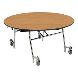 "Easy-Fold Mobile Round Nesting Cafeteria Table w/ Particleboard Core, Chrome Frame & Vinyl T-Mold Edge (60"" Diameter) - Oak"
