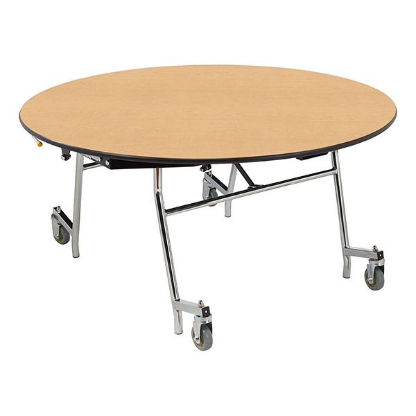"""Easy-Fold Mobile Round Nesting Cafeteria Table w/ Particleboard Core, Chrome Frame & Vinyl T-Mold Edge (60"""" Diameter) - Fusion Maple"""