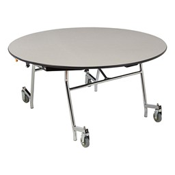 Easy-Fold Mobile Round Cafeteria Table - Gray