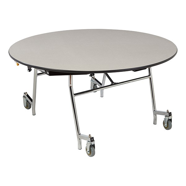 """Easy-Fold Mobile Round Nesting Cafeteria Table w/ Particleboard Core, Chrome Frame & Vinyl T-Mold Edge (60"""" Diameter) - Gray"""