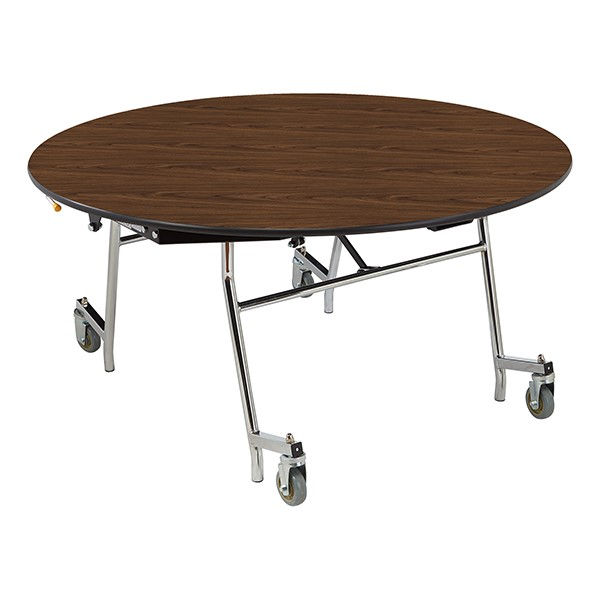 """Easy-Fold Mobile Round Nesting Cafeteria Table w/ Particleboard Core, Chrome Frame & Vinyl T-Mold Edge (60"""" Diameter) - Walnut"""
