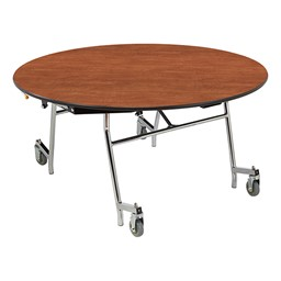 Easy-Fold Mobile Round Cafeteria Table - Cherry