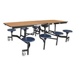 """Mobile Stool Cafeteria Table w/ MDF Core, Protect Edge & Powder Coat Frame - 8 Stools (30"""" W x 8' L x 29"""" H)"""