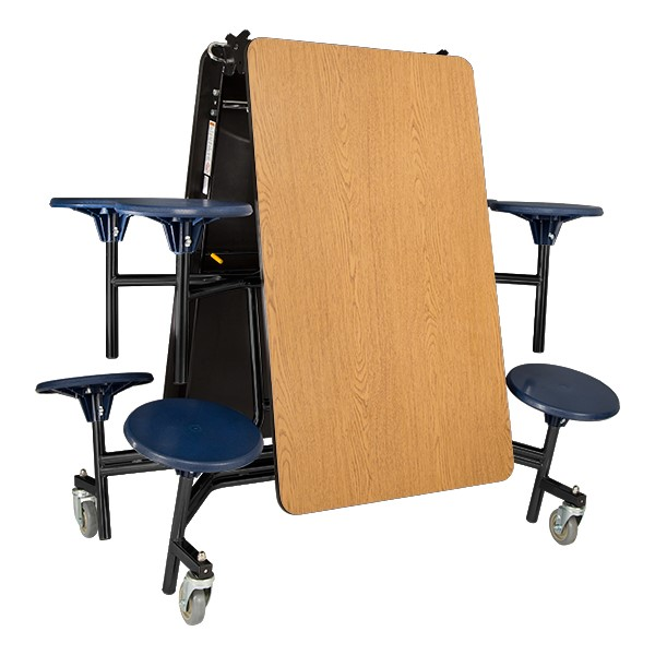 """Mobile Stool Cafeteria Table w/ MDF Core, Protect Edge & Powder Coat Frame - 8 Stools (30"""" W x 8' L x 29"""" H) - Folded"""