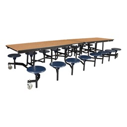 "Mobile Stool Cafeteria Table w/ MDF Core, Protect Edge & Powder-Coat Frame - 16 Stools (30"" W x 12' L x 27"" H)"