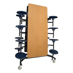 """Mobile Stool Cafeteria Table w/ MDF Core, Protect Edge & Powder-Coat Frame - 16 Stools (30"""" W x 12' L x 27"""" H) - Folded"""