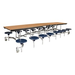 """Mobile Stool Cafeteria Table w/ MDF Core, Protect Edge & Chrome Frame - 16 Stools (30\"""" W x 12\' L x 27\"""" H)"""