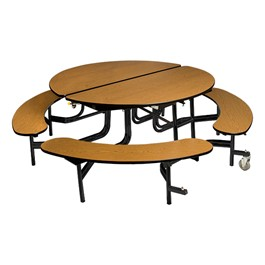 """Round Mobile Bench Cafeteria Table w/ MDF Core, Protect Edge & Powder-Coat Frame (60\"""" Diameter)"""