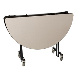 """Round Mobile Cafeteria Table w/ Plywood Core, Protect Edge and Powder Coat Frame (48"""" Diameter) - Gray - Folded"""