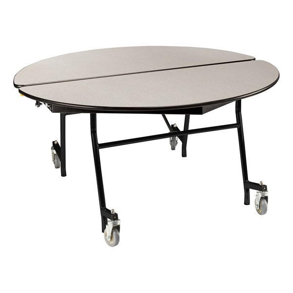 """Round Mobile Cafeteria Table w/ Plywood Core, Protect Edge and Powder Coat Frame (48"""" Diameter) - Gray"""