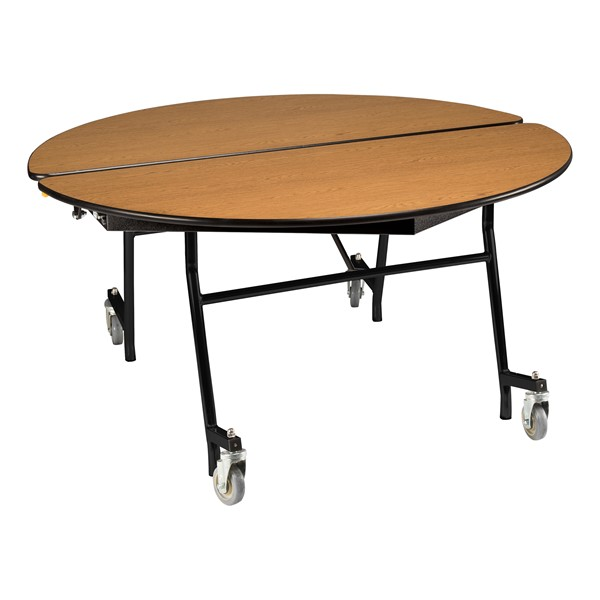"""Round Mobile Cafeteria Table w/ Plywood Core, Protect Edge and Powder Coat Frame (48"""" Diameter) - Oak"""