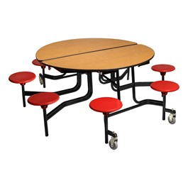 """Round Mobile Stool Cafeteria Table w/ MDF Core, Protect Edge & Powder-Coat Frame (60\"""" Diameter)"""