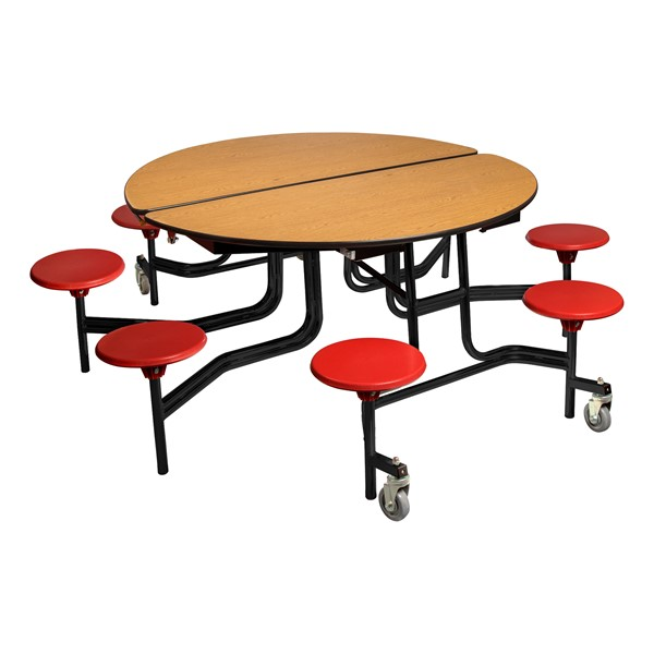 """Round Mobile Stool Cafeteria Table w/ Plywood Core & Powder-Coat Frame (60"""" Diameter) - Oak w/ Red Stools"""