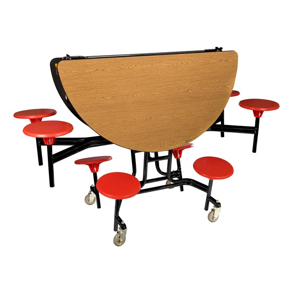 """Round Mobile Stool Cafeteria Table w/ Plywood Core & Powder-Coat Frame (60"""" Diameter) - Oak w/ Red Stools - Folded"""