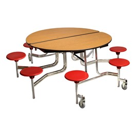 """Round Mobile Stool Cafeteria Table w/ Plywood Core & Chrome Frame (60\"""" Diameter) - Oak w/ Red Stools"""