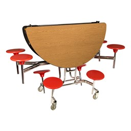 Round Mobile Stool Cafeteria Table w/ MDF Core & Protect EdgeRound Mobile Stool Cafeteria Table w/ MDF Core & Protect Edge - Folded