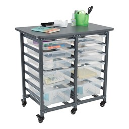 Structure Series Double-Wide Mobile Classroom Storage Cart