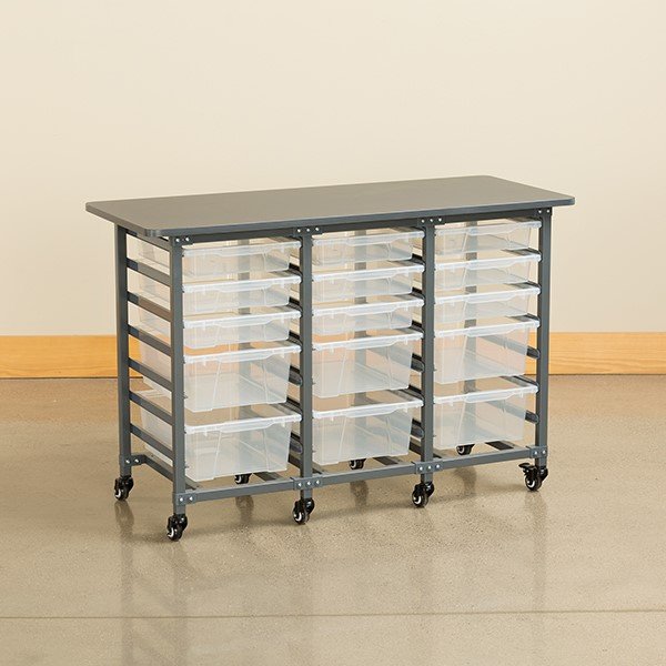 Structure Series Triple-Wide Mobile Classroom Storage Cart w/ 12 Small & 8 Large Bins