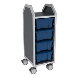Profile Series Single-Wide Mobile Classroom Storage Cart - 4 Large Bins - Translucent Brilliant Blue