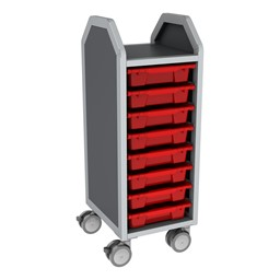 Profile Series Single-Wide Mobile Classroom Storage Cart - 8 Small Bins - Translucent Red