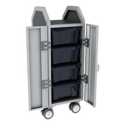 Profile Series Single-Wide Mobile Classroom Storage Cart w/ Doors - 4 Large Bins - Translucent Navy