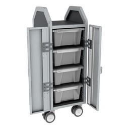 Profile Series Single-Wide Mobile Classroom Storage Cart w/ Doors - 4 Large Bins - Clear