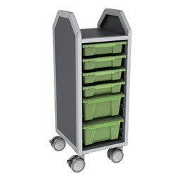 Profile Series Single-Wide Mobile Classroom Storage Cart - 4 Small & 2 Large Bins - Translucent Green Apple