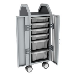 Profile Series Single-Wide Mobile Classroom Storage Cart w/ Doors - 4 Small & 2 Large Bins - Clear