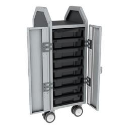 Profile Series Single-Wide Mobile Classroom Storage Cart w/ Doors - 8 Small Bins - Translucent Graphite