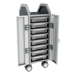 Profile Series Single-Wide Mobile Classroom Storage Cart w/ Doors - 8 Small Bins - Clear
