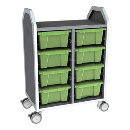 Profile Series Double-Wide Mobile Classroom Storage Cart - 8 Large Bins - Translucent Green Apple