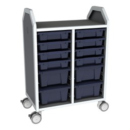 Profile Series Double-Wide Mobile Classroom Storage Cart - 8 Small & 4 Large Bins - Translucent Navy
