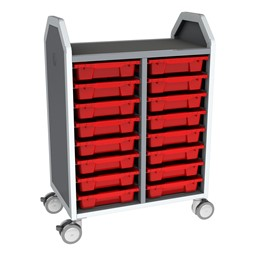 Profile Series Double-Wide Mobile Classroom Storage Cart - 16 Small Bins - Translucent Red