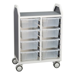 """Profile Series Double-Wide Mobile Classroom Storage Cart (28 1/4\"""" W x 35 1/2\"""" H) - Front"""