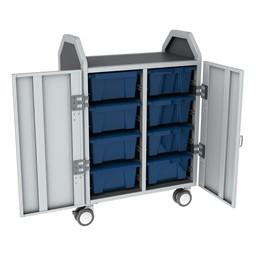 Profile Series Double-Wide Mobile Classroom Storage Cart w/ Doors - 8 Large Bins - Translucent Brilliant Blue