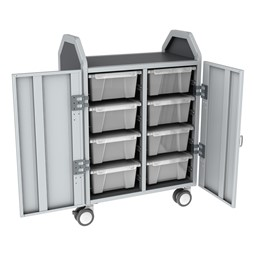 Profile Series Double-Wide Mobile Classroom Storage Cart w/ Doors - 8 Large Bins - Clear