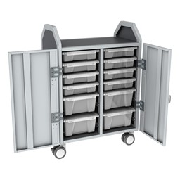 Profile Series Double-Wide Mobile Classroom Storage Cart w/ Doors - 8 Small & 4 Large Bins - Clear