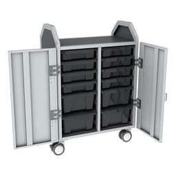 Profile Series Double-Wide Mobile Classroom Storage Cart w/ Doors - 8 Small & 4 Large Bins - Translucent Graphite