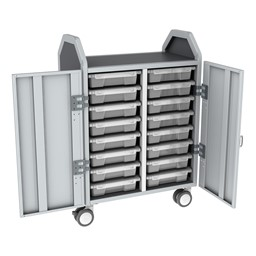 Profile Series Double-Wide Mobile Classroom Storage Cart w/ Doors - 16 Small Bins - Clear