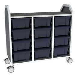 Profile Series Triple-Wide Mobile Classroom Storage Tower - 12 Large Bins - Translucent Navy