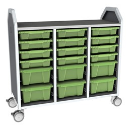 Profile Series Triple-Wide Mobile Classroom Storage Tower - 12 Small & 6 Large Bins - Translucent Green Apple