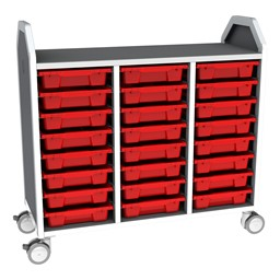 Profile Series Triple-Wide Mobile Classroom Storage Tower - 24 Small Bins - Translucent Red