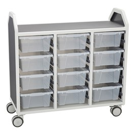 "Profile Series Triple-Wide Mobile Classroom Storage Cart (42"" W x  35 1/2\"" H) - Front"